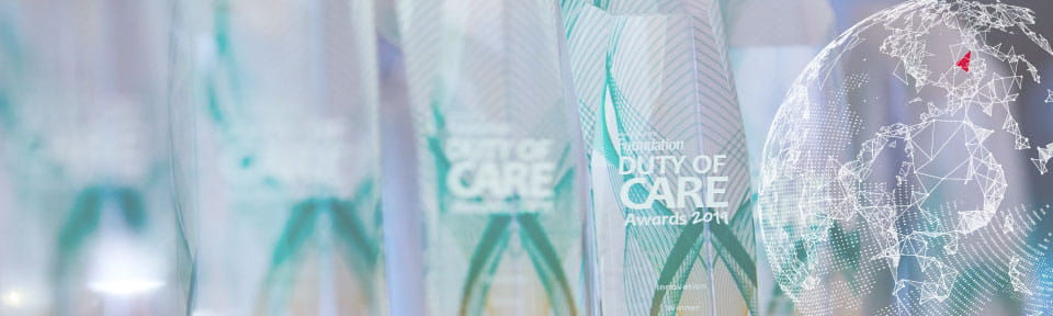 2019 Duty of Care Awards trophies
